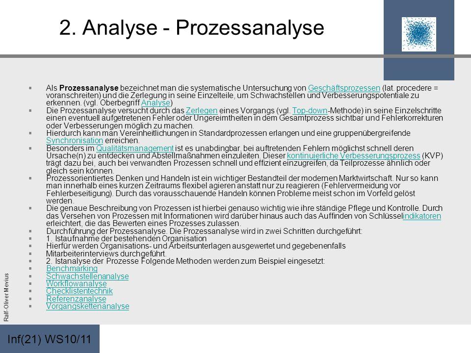 Inf(21) WS10/11 Ralf-Oliver Mevius 2. Analyse - Prozessanalyse Als Prozessanalyse bezeichnet man die systematische Untersuchung von Geschäftsprozessen