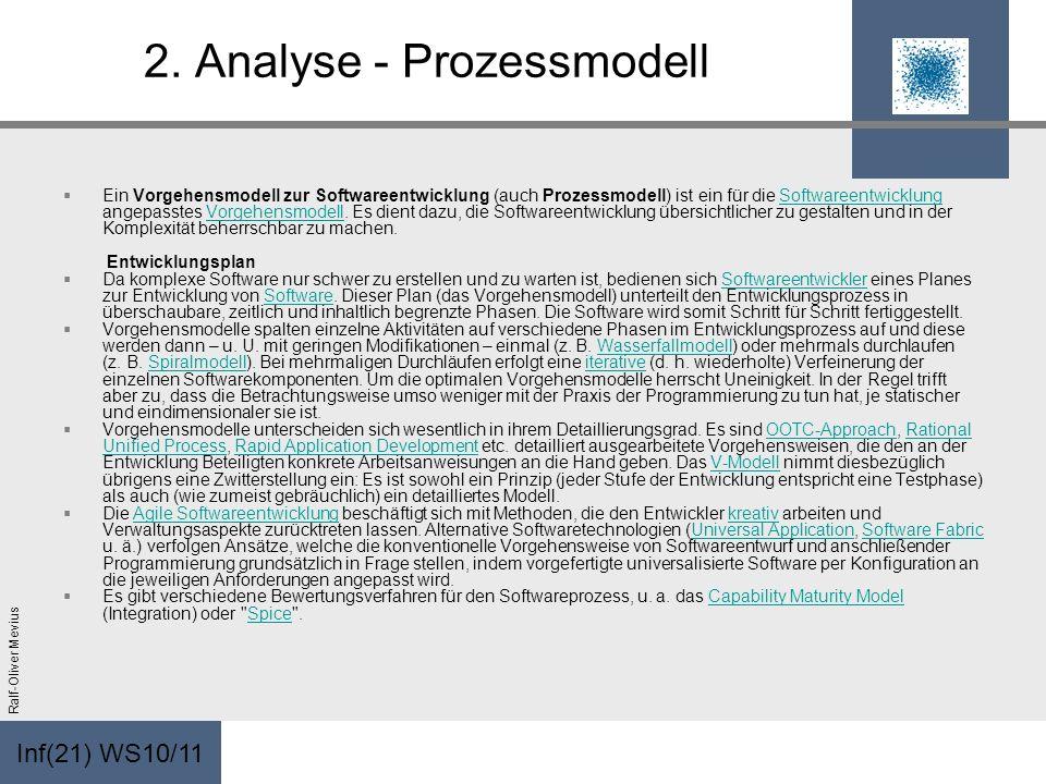Inf(21) WS10/11 Ralf-Oliver Mevius 2. Analyse - Prozessmodell Ein Vorgehensmodell zur Softwareentwicklung (auch Prozessmodell) ist ein für die Softwar
