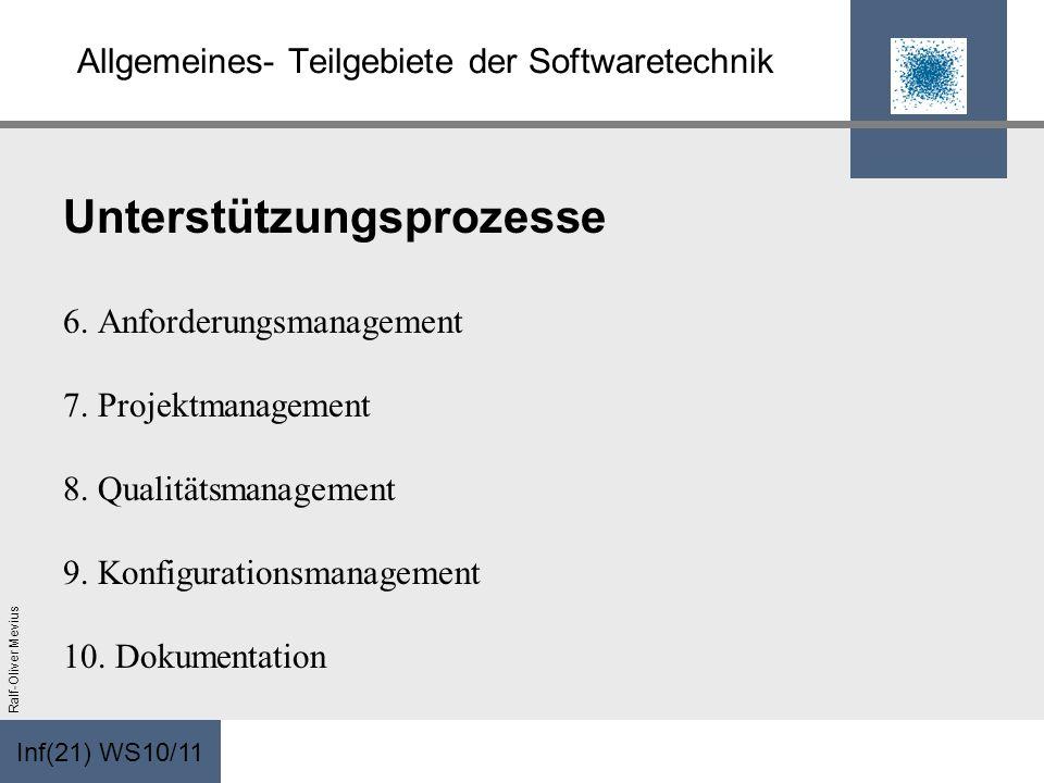 Inf(21) WS10/11 Ralf-Oliver Mevius Allgemeines- Teilgebiete der Softwaretechnik Unterstützungsprozesse 6. Anforderungsmanagement 7. Projektmanagement