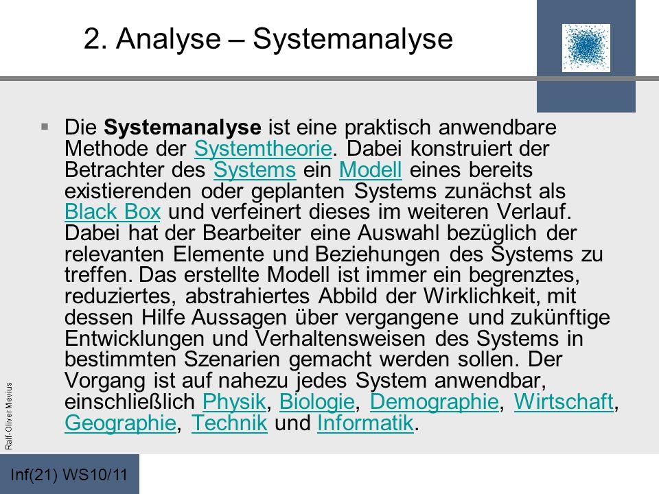 Inf(21) WS10/11 Ralf-Oliver Mevius 2. Analyse – Systemanalyse Die Systemanalyse ist eine praktisch anwendbare Methode der Systemtheorie. Dabei konstru