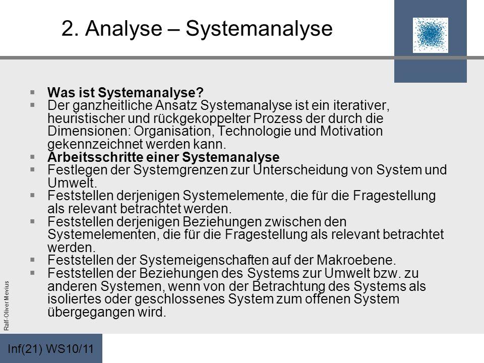 Inf(21) WS10/11 Ralf-Oliver Mevius 2. Analyse – Systemanalyse Was ist Systemanalyse? Der ganzheitliche Ansatz Systemanalyse ist ein iterativer, heuris