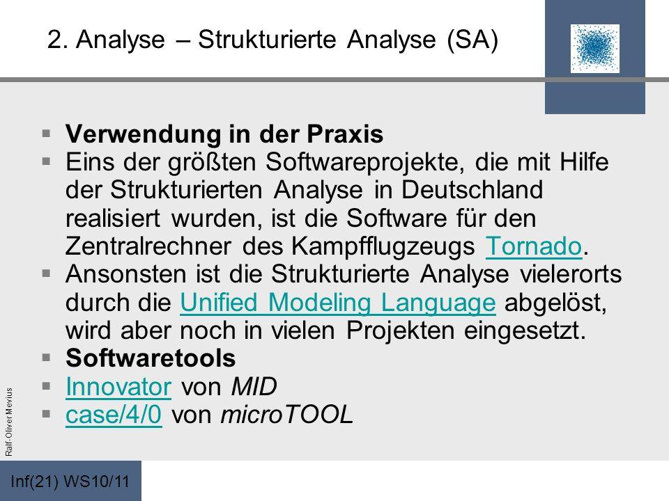 Inf(21) WS10/11 Ralf-Oliver Mevius 2. Analyse – Strukturierte Analyse (SA) Verwendung in der Praxis Eins der größten Softwareprojekte, die mit Hilfe d