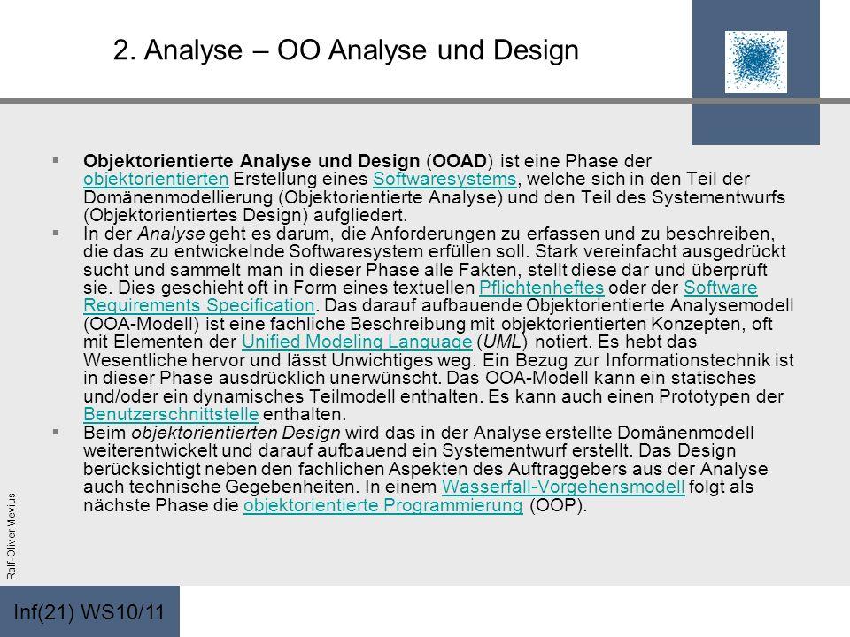 Inf(21) WS10/11 Ralf-Oliver Mevius 2. Analyse – OO Analyse und Design Objektorientierte Analyse und Design (OOAD) ist eine Phase der objektorientierte