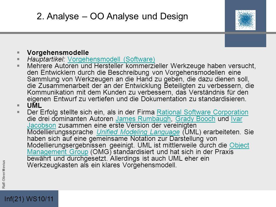 Inf(21) WS10/11 Ralf-Oliver Mevius 2. Analyse – OO Analyse und Design Vorgehensmodelle Hauptartikel: Vorgehensmodell (Software)Vorgehensmodell (Softwa