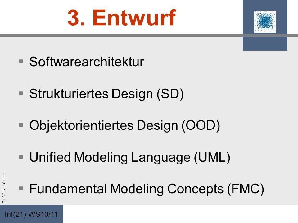Inf(21) WS10/11 Ralf-Oliver Mevius 3. Entwurf Softwarearchitektur Strukturiertes Design (SD) Objektorientiertes Design (OOD) Unified Modeling Language