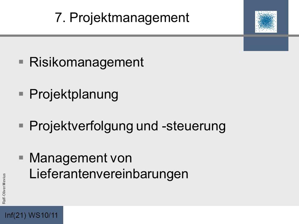 Inf(21) WS10/11 Ralf-Oliver Mevius 7. Projektmanagement Risikomanagement Projektplanung Projektverfolgung und -steuerung Management von Lieferantenver