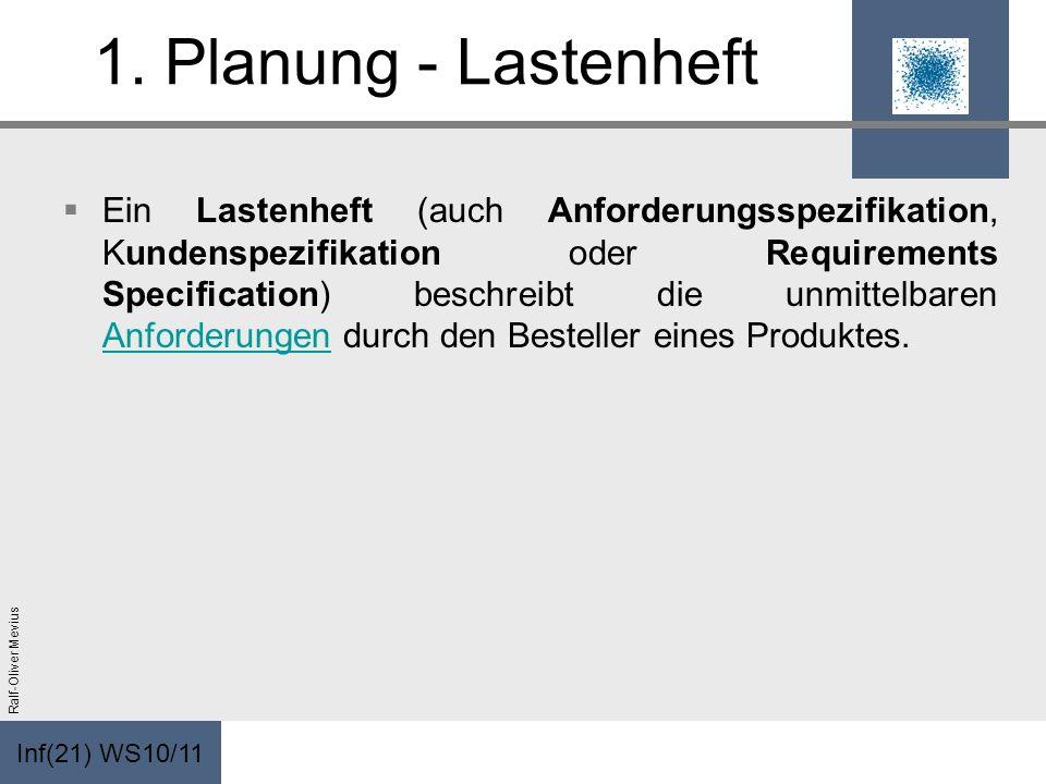 Inf(21) WS10/11 Ralf-Oliver Mevius 1. Planung - Lastenheft Ein Lastenheft (auch Anforderungsspezifikation, Kundenspezifikation oder Requirements Speci