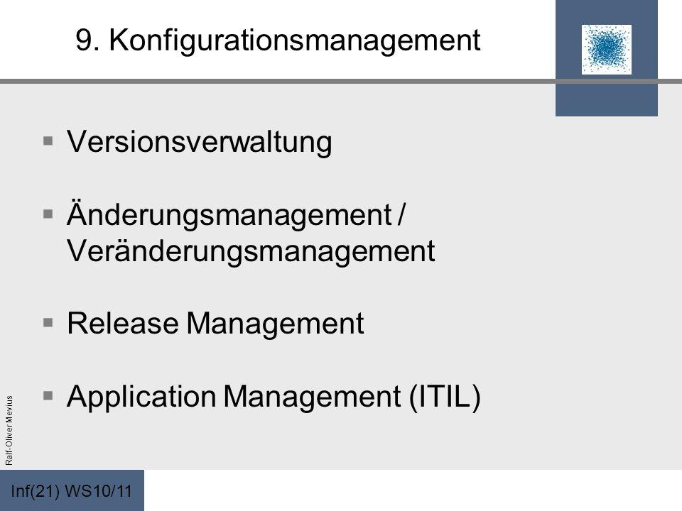 Inf(21) WS10/11 Ralf-Oliver Mevius 9. Konfigurationsmanagement Versionsverwaltung Änderungsmanagement / Veränderungsmanagement Release Management Appl