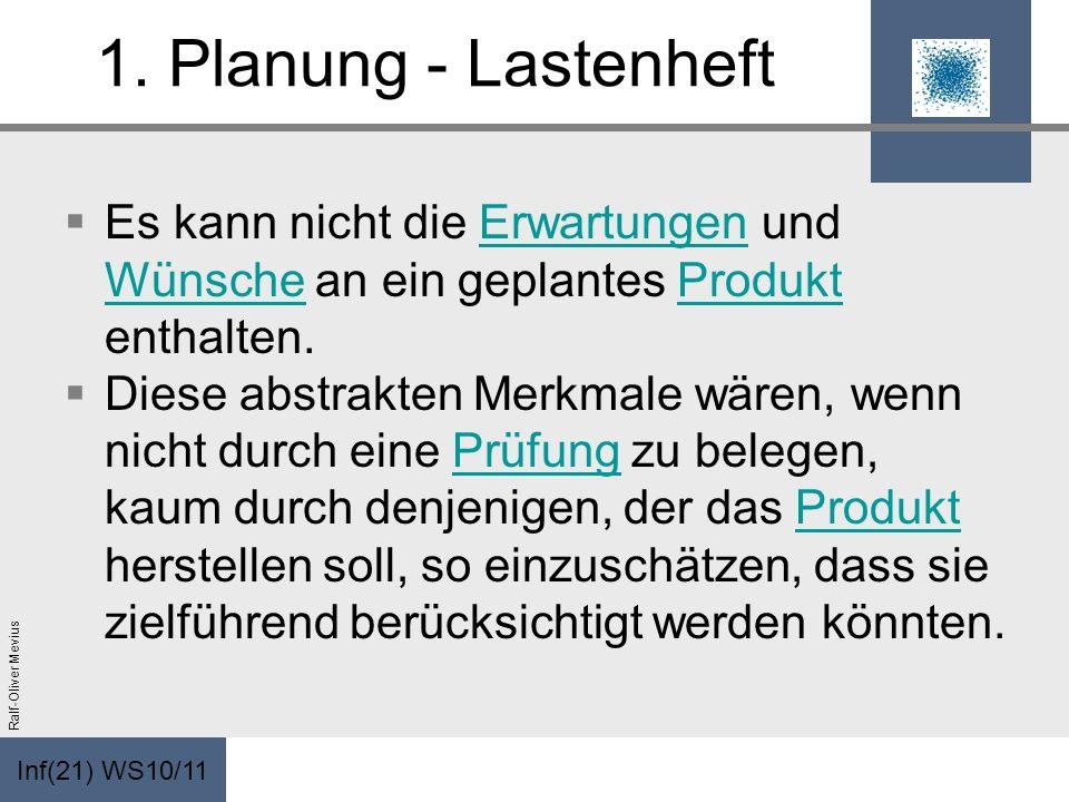 Inf(21) WS10/11 Ralf-Oliver Mevius 1. Planung - Lastenheft Es kann nicht die Erwartungen und Wünsche an ein geplantes Produkt enthalten.Erwartungen Wü
