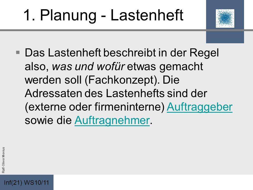 Inf(21) WS10/11 Ralf-Oliver Mevius 1. Planung - Lastenheft Das Lastenheft beschreibt in der Regel also, was und wofür etwas gemacht werden soll (Fachk