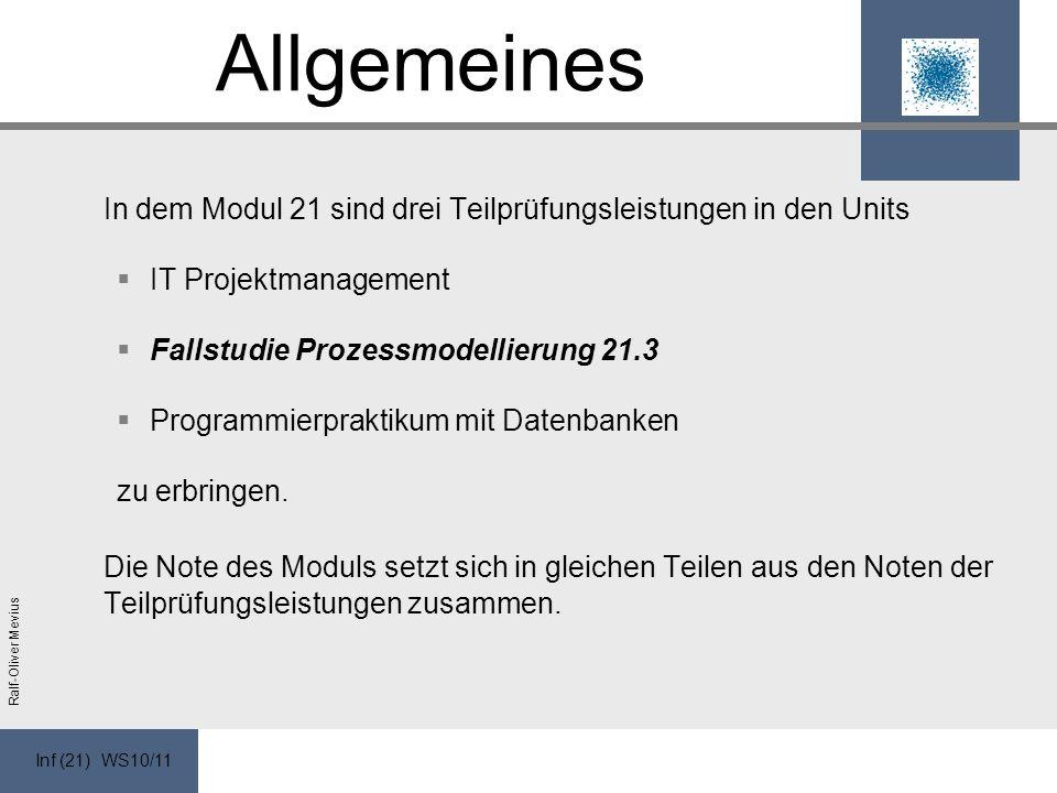 Inf (21) WS10/11 Ralf-Oliver Mevius Allgemeines In dem Modul 21 sind drei Teilprüfungsleistungen in den Units IT Projektmanagement Fallstudie Prozessmodellierung 21.3 Programmierpraktikum mit Datenbanken zu erbringen.