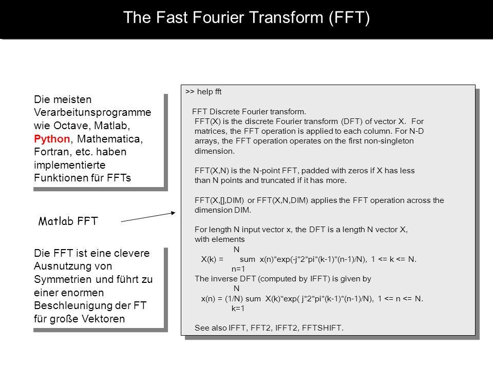 The Fast Fourier Transform (FFT) Die meisten Verarbeitunsprogramme wie Octave, Matlab, Python, Mathematica, Fortran, etc. haben implementierte Funktio