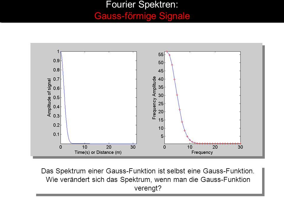 Fourier Spektren: Gauss-förmige Signale Das Spektrum einer Gauss-Funktion ist selbst eine Gauss-Funktion. Wie verändert sich das Spektrum, wenn man di