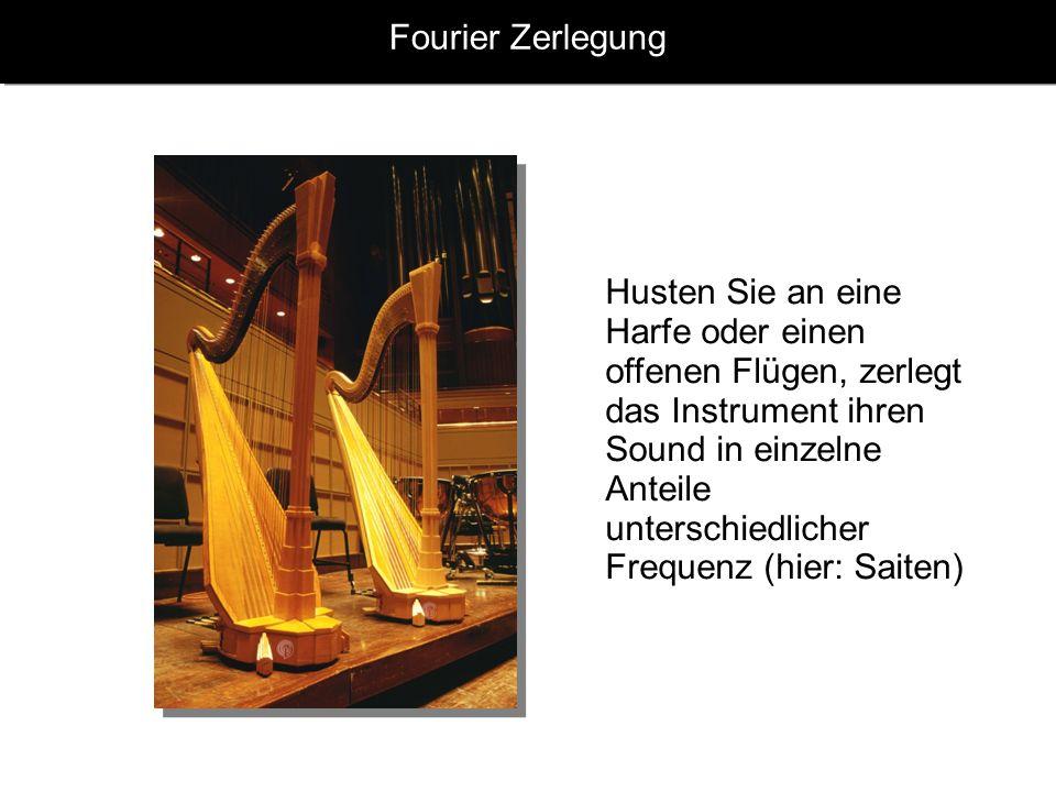 Fourier Zerlegung Husten Sie an eine Harfe oder einen offenen Flügen, zerlegt das Instrument ihren Sound in einzelne Anteile unterschiedlicher Frequen