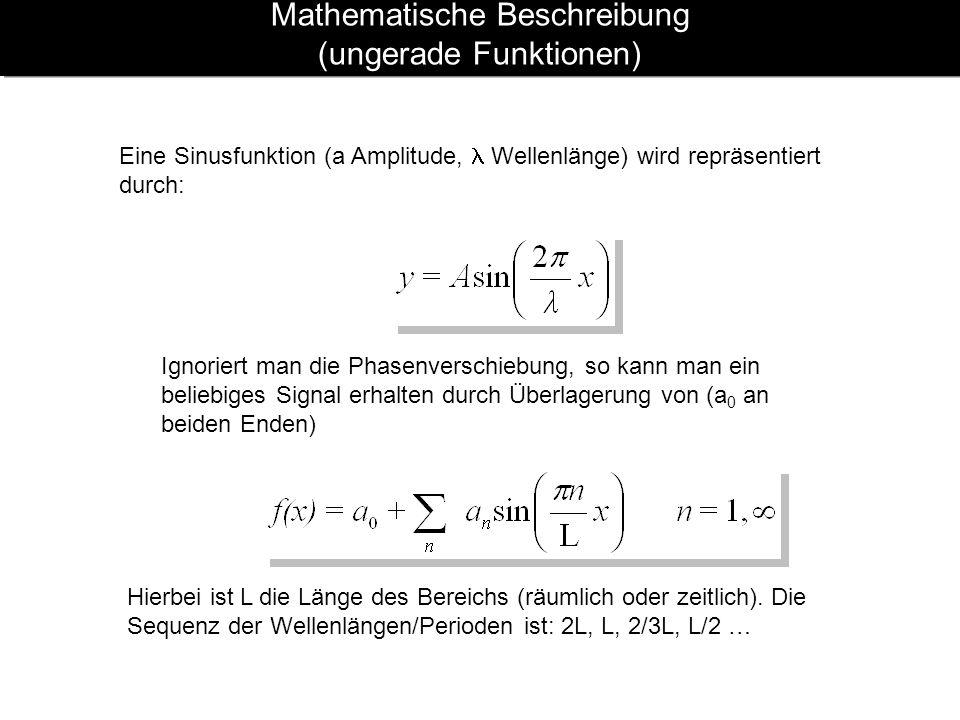 Mathematische Beschreibung (ungerade Funktionen) Eine Sinusfunktion (a Amplitude, Wellenlänge) wird repräsentiert durch: Ignoriert man die Phasenversc