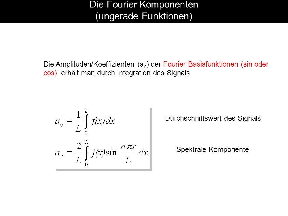 Die Fourier Komponenten (ungerade Funktionen) Die Amplituden/Koeffizienten (a n ) der Fourier Basisfunktionen (sin oder cos) erhält man durch Integrat