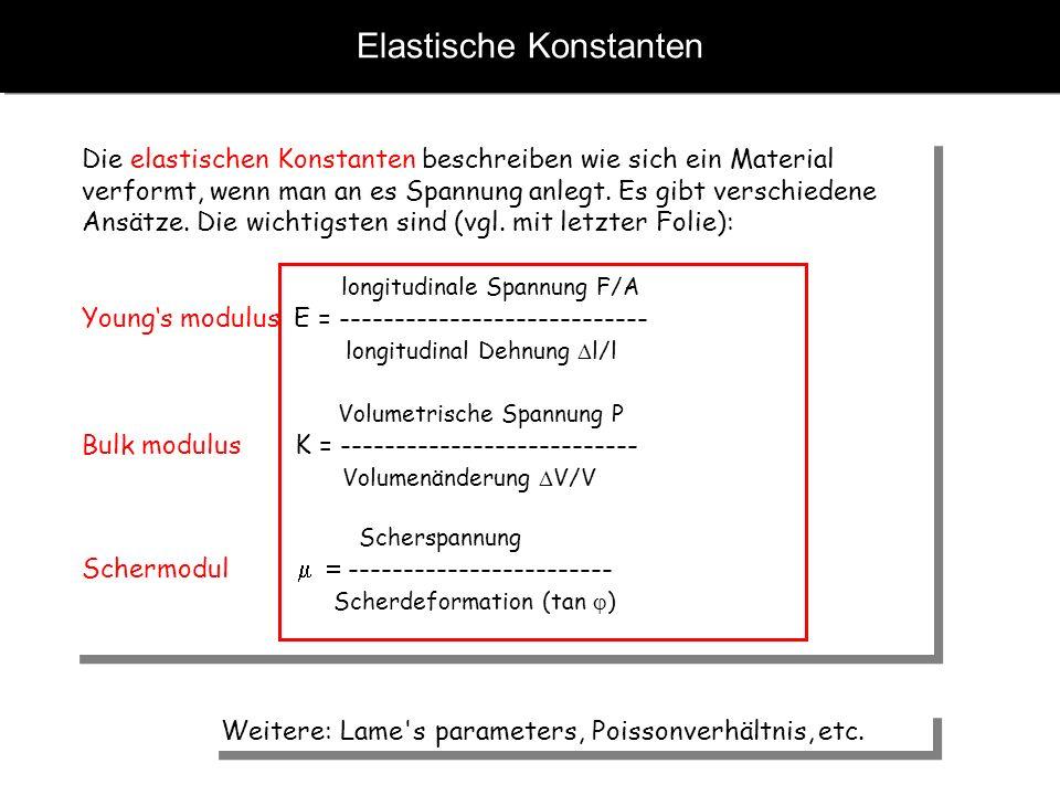Elastische Konstanten Die elastischen Konstanten beschreiben wie sich ein Material verformt, wenn man an es Spannung anlegt. Es gibt verschiedene Ansä