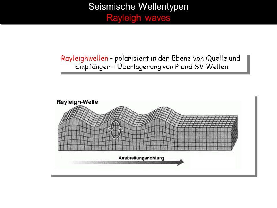 Seismische Wellentypen Rayleigh waves Rayleighwellen – polarisiert in der Ebene von Quelle und Empfänger – Überlagerung von P und SV Wellen