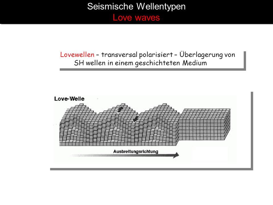Seismische Wellentypen Love waves Lovewellen – transversal polarisiert – Überlagerung von SH wellen in einem geschichteten Medium