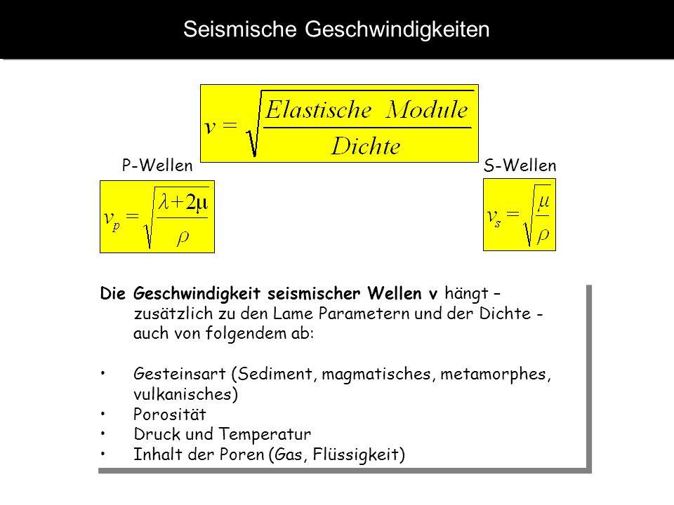 Seismische Geschwindigkeiten Die Geschwindigkeit seismischer Wellen v hängt – zusätzlich zu den Lame Parametern und der Dichte - auch von folgendem ab