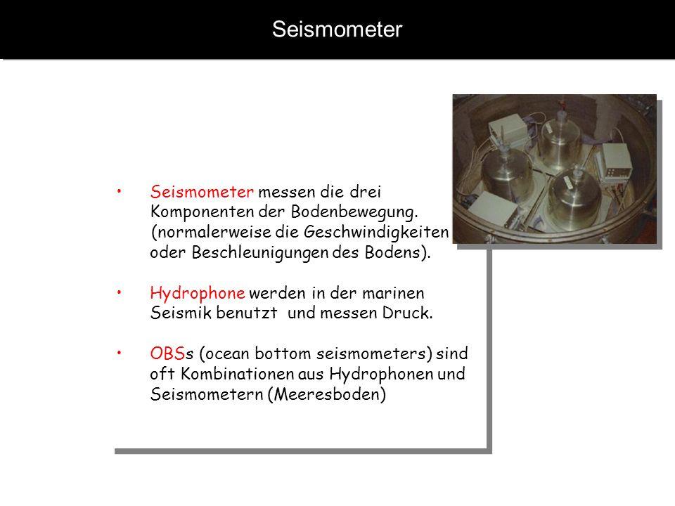 Seismometer Seismometer messen die drei Komponenten der Bodenbewegung. (normalerweise die Geschwindigkeiten oder Beschleunigungen des Bodens). Hydroph