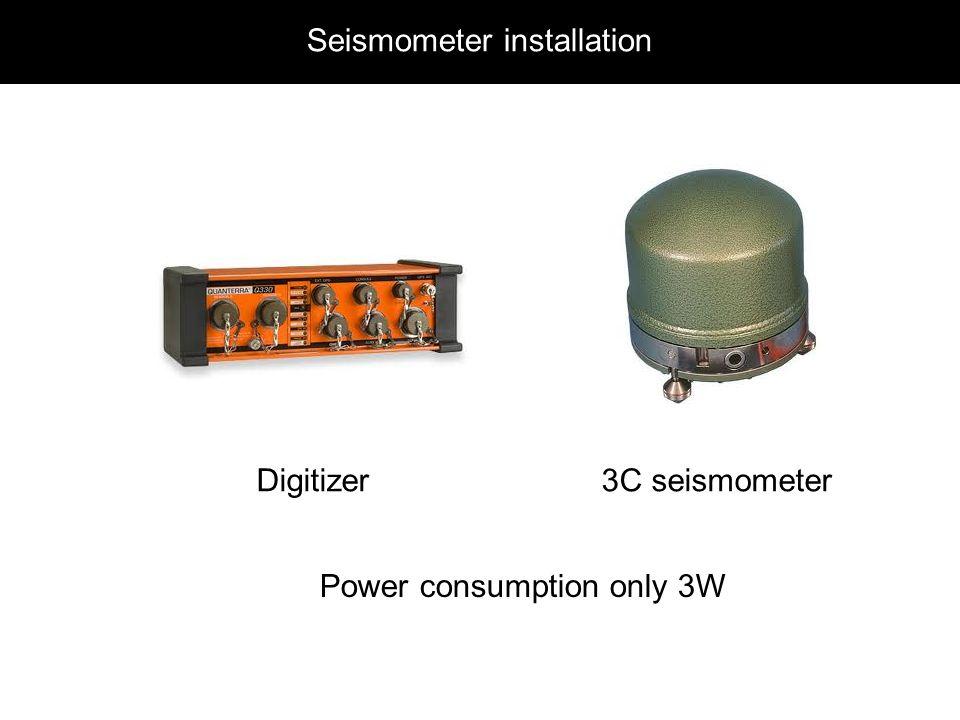Seismometer installation Digitizer3C seismometer Power consumption only 3W