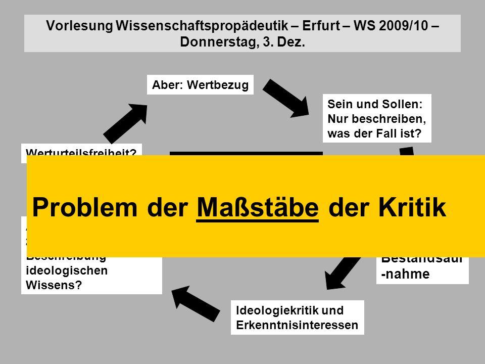 Vorlesung Wissenschaftspropädeutik – Erfurt – WS 2009/10 – Donnerstag, 3.