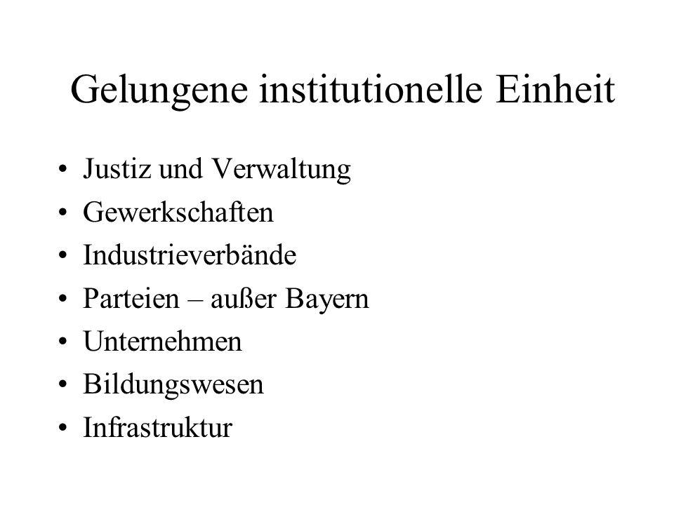 Gelungene institutionelle Einheit Justiz und Verwaltung Gewerkschaften Industrieverbände Parteien – außer Bayern Unternehmen Bildungswesen Infrastruktur