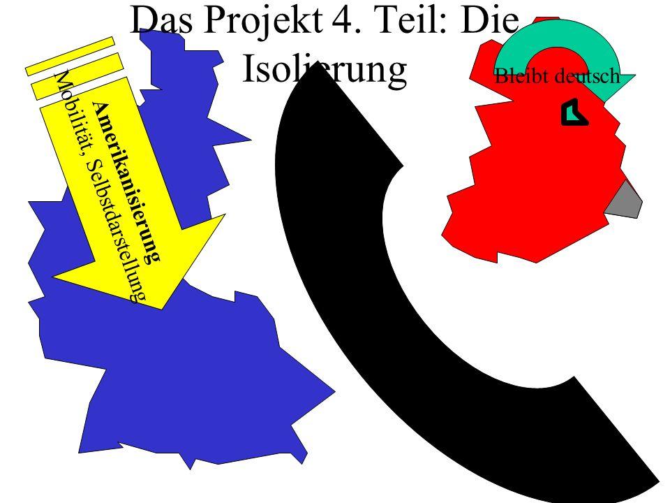 Das Projekt 4. Teil: Die Isolierung Amerikanisierung Mobilität, Selbstdarstellung Bleibt deutsch