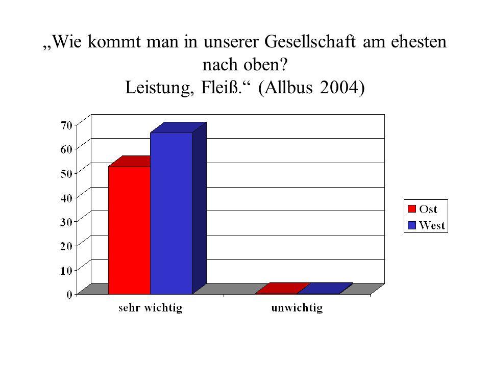 Wie kommt man in unserer Gesellschaft am ehesten nach oben? Leistung, Fleiß. (Allbus 2004)