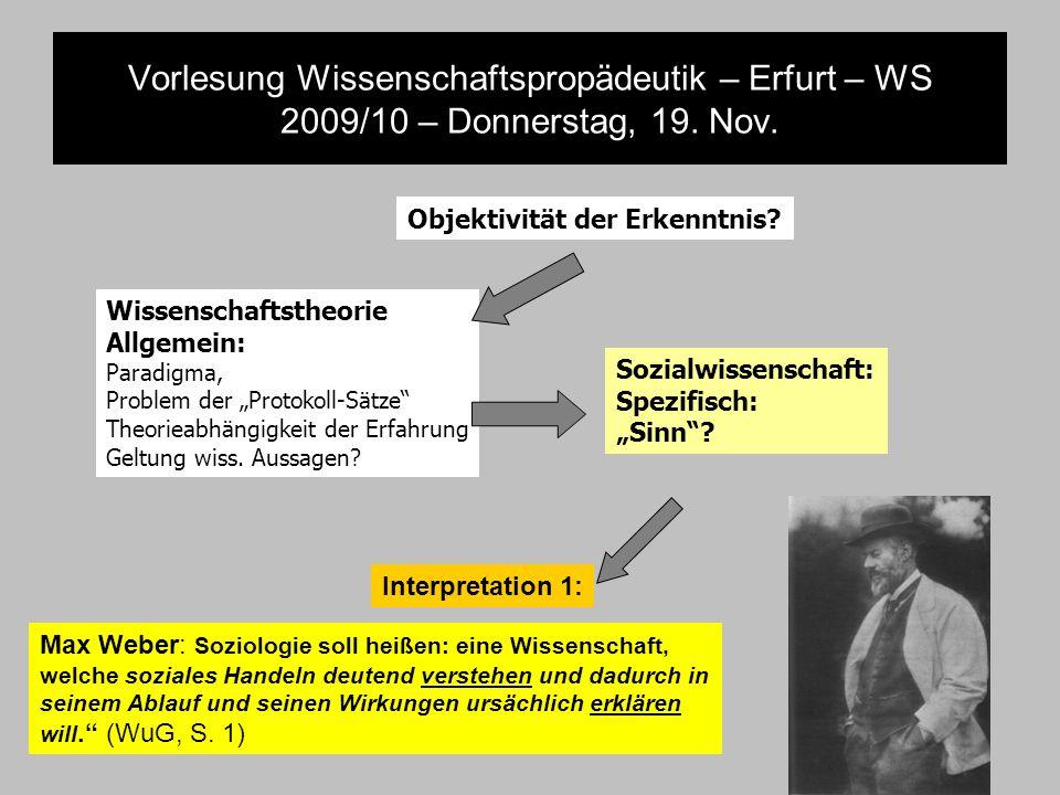 Vorlesung Wissenschaftspropädeutik – Erfurt – WS 2009/10 – Donnerstag, 19. Nov. Objektivität der Erkenntnis? Wissenschaftstheorie Allgemein: Paradigma
