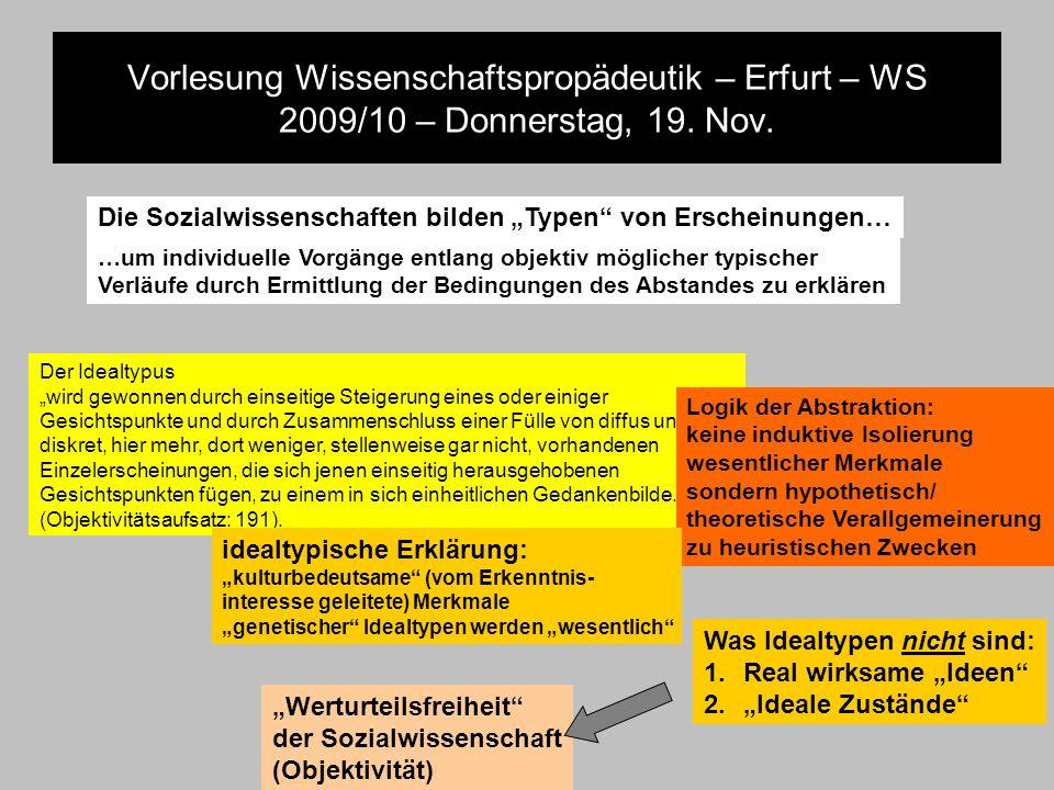 Vorlesung Wissenschaftspropädeutik – Erfurt – WS 2009/10 – Donnerstag, 19. Nov. Der Idealtypus wird gewonnen durch einseitige Steigerung eines oder ei