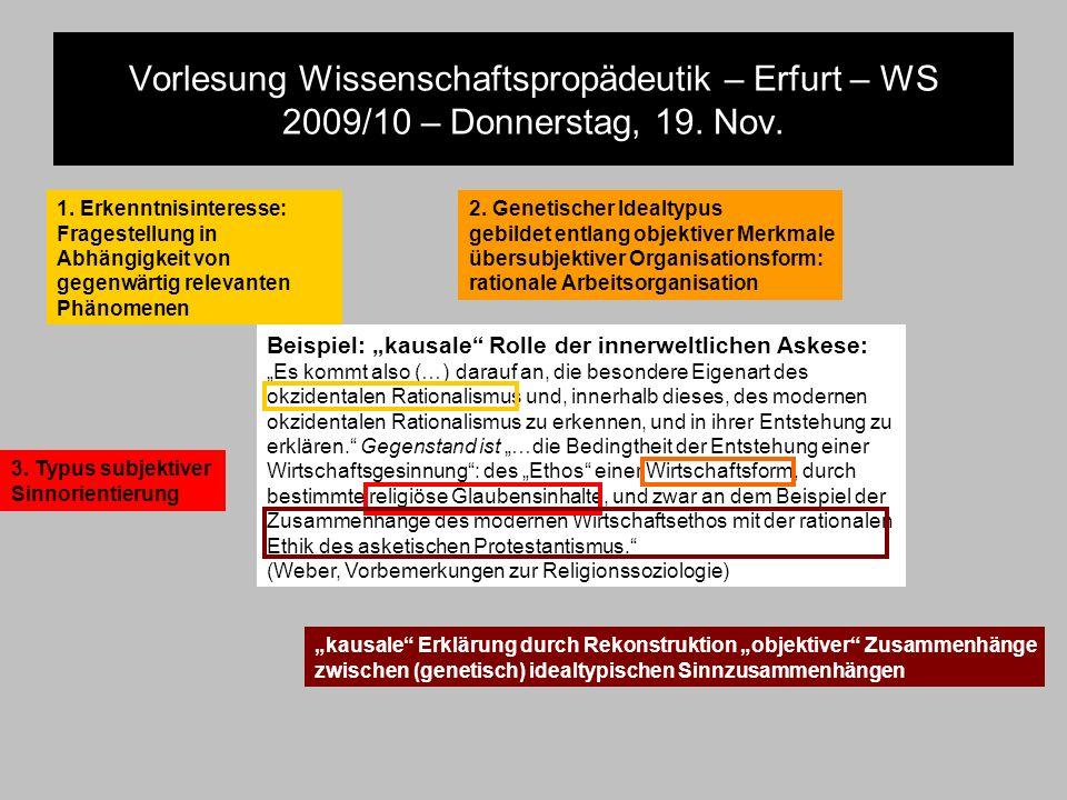 Vorlesung Wissenschaftspropädeutik – Erfurt – WS 2009/10 – Donnerstag, 19. Nov. Beispiel: kausale Rolle der innerweltlichen Askese: Es kommt also (…)