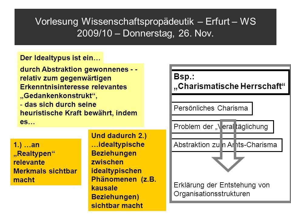 Vorlesung Wissenschaftspropädeutik – Erfurt – WS 2009/10 – Donnerstag, 26. Nov. durch Abstraktion gewonnenes - - relativ zum gegenwärtigen Erkenntnisi