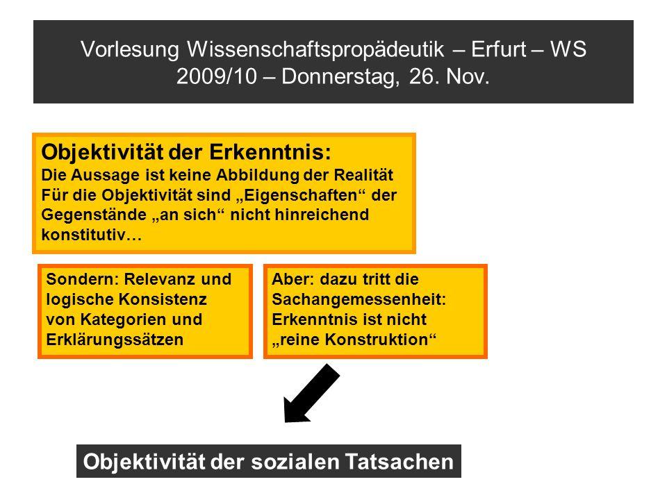 Vorlesung Wissenschaftspropädeutik – Erfurt – WS 2009/10 – Donnerstag, 26. Nov. Objektivität der Erkenntnis: Die Aussage ist keine Abbildung der Reali