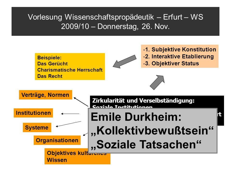 Vorlesung Wissenschaftspropädeutik – Erfurt – WS 2009/10 – Donnerstag, 26. Nov. Zirkularität und Verselbständigung: Soziale Institutionen a)…werden du