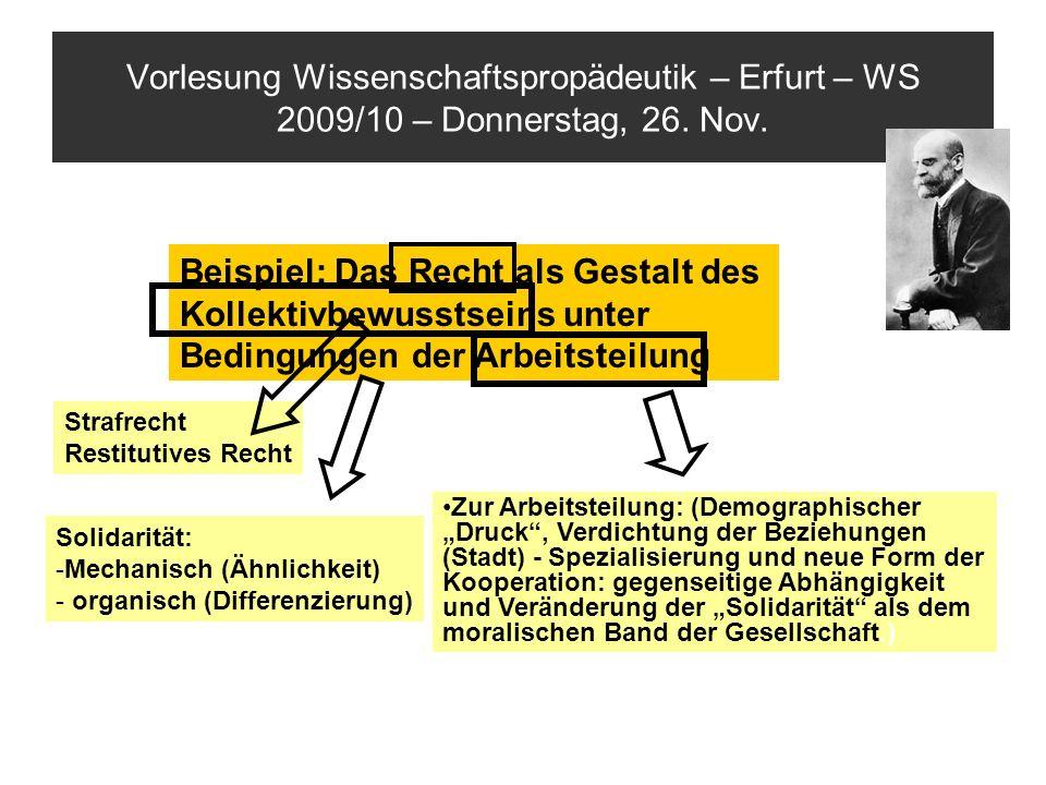 Vorlesung Wissenschaftspropädeutik – Erfurt – WS 2009/10 – Donnerstag, 26. Nov. Beispiel: Das Recht als Gestalt des Kollektivbewusstseins unter Beding