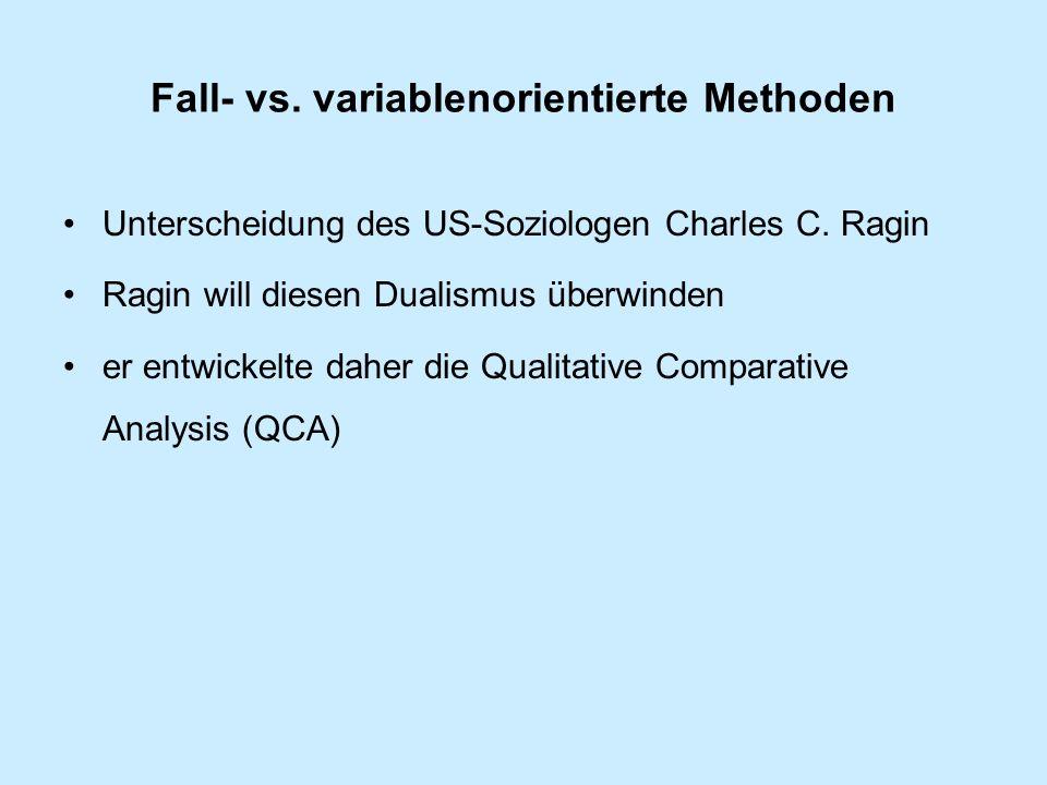 Fall- vs.variablenorientierte Methoden Unterscheidung des US-Soziologen Charles C.