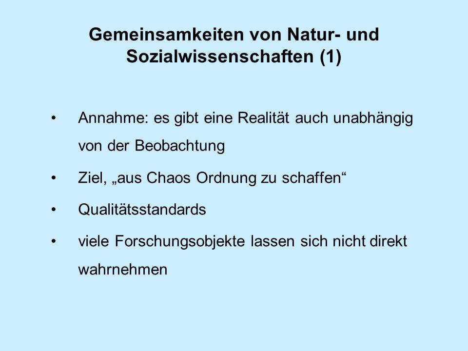 Gemeinsamkeiten von Natur- und Sozialwissenschaften (1) Annahme: es gibt eine Realität auch unabhängig von der Beobachtung Ziel, aus Chaos Ordnung zu schaffen Qualitätsstandards viele Forschungsobjekte lassen sich nicht direkt wahrnehmen