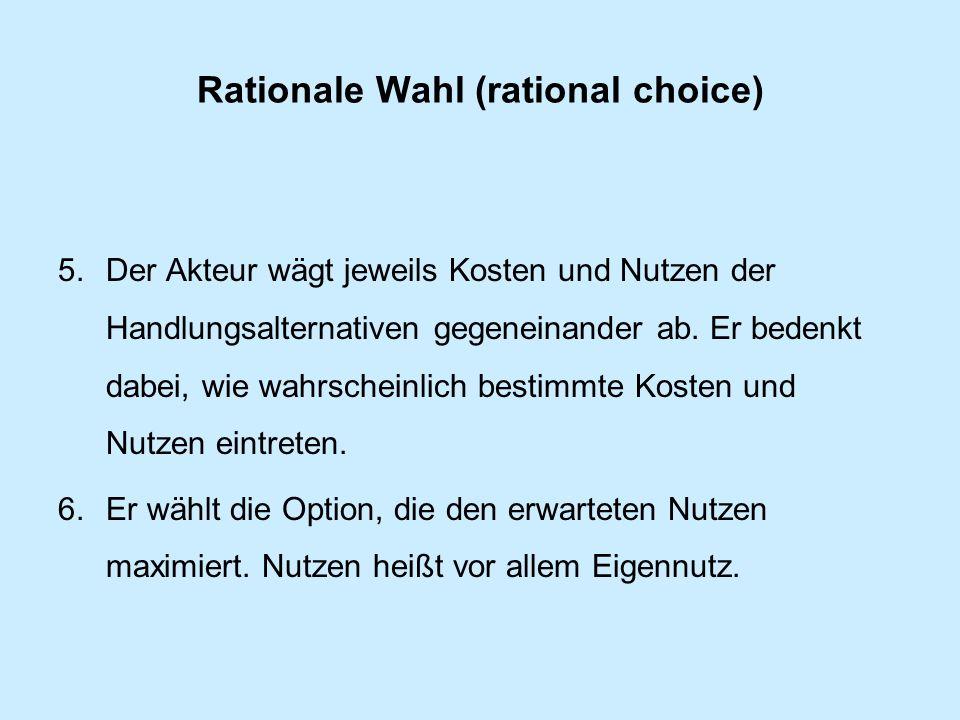 Rationale Wahl (rational choice) 5.Der Akteur wägt jeweils Kosten und Nutzen der Handlungsalternativen gegeneinander ab.