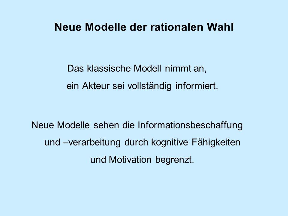 Neue Modelle der rationalen Wahl Das klassische Modell nimmt an, ein Akteur sei vollständig informiert.