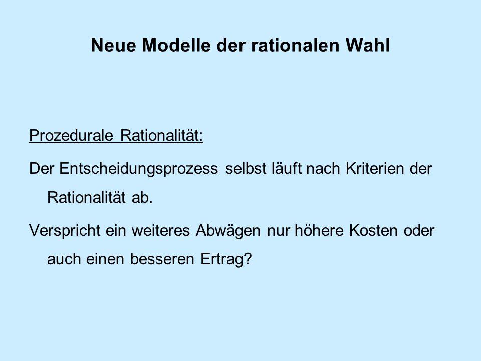 Neue Modelle der rationalen Wahl Prozedurale Rationalität: Der Entscheidungsprozess selbst läuft nach Kriterien der Rationalität ab.