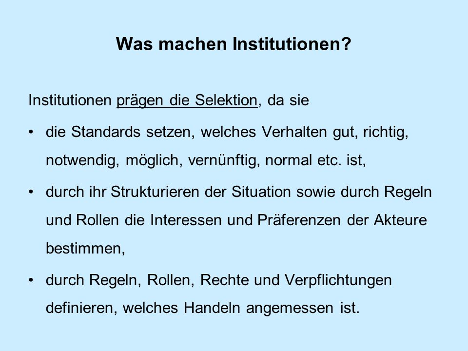 Was machen Institutionen.