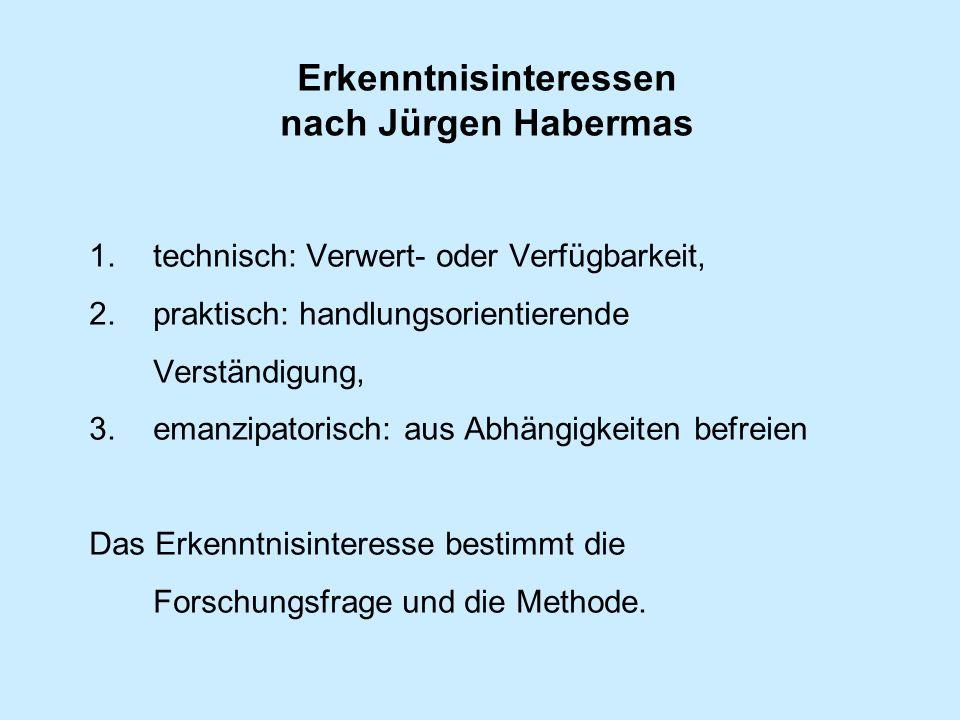 Erkenntnisinteressen nach Jürgen Habermas 1.technisch: Verwert- oder Verfügbarkeit, 2.praktisch: handlungsorientierende Verständigung, 3.emanzipatorisch: aus Abhängigkeiten befreien Das Erkenntnisinteresse bestimmt die Forschungsfrage und die Methode.
