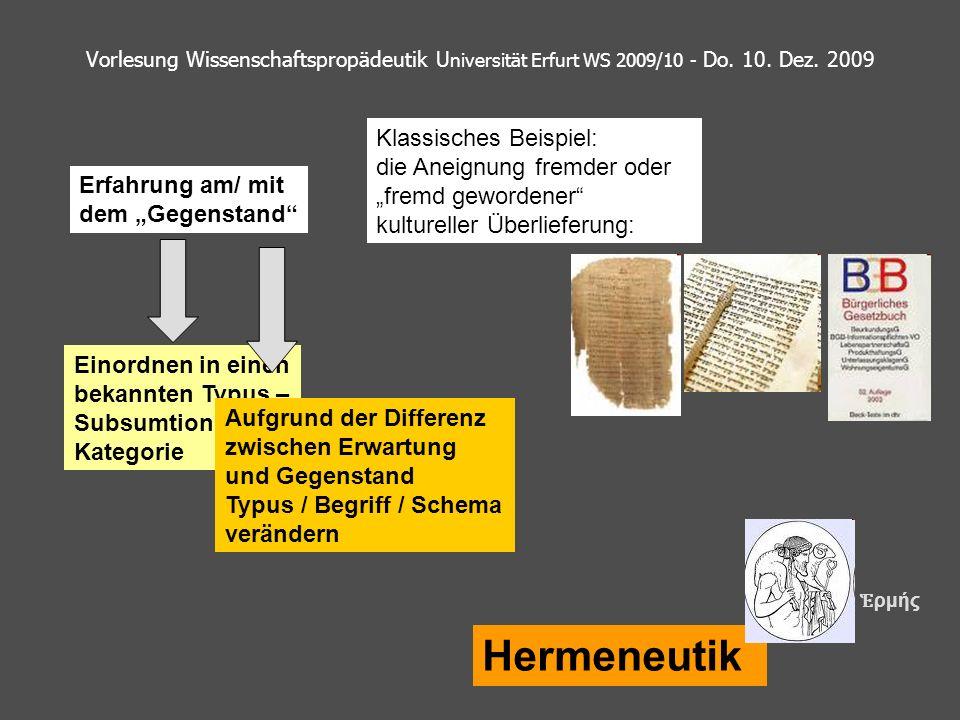 Vorlesung Wissenschaftspropädeutik U niversität Erfurt WS 2009/10 - Do. 10. Dez. 2009 Hermeneutik Erfahrung am/ mit dem Gegenstand Einordnen in einen