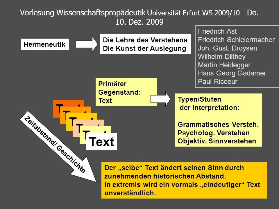 Vorlesung Wissenschaftspropädeutik U niversität Erfurt WS 2009/10 - Do. 10. Dez. 2009 Hermeneutik Die Lehre des Verstehens Die Kunst der Auslegung Tex
