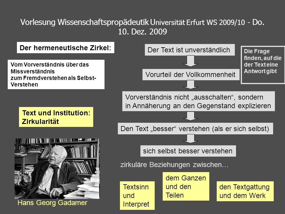 Vorlesung Wissenschaftspropädeutik U niversität Erfurt WS 2009/10 - Do. 10. Dez. 2009 Text und Institution: Zirkularität Hans Georg Gadamer Textsinn u