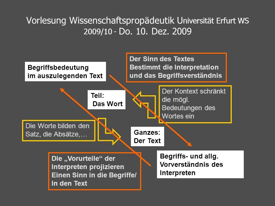 Vorlesung Wissenschaftspropädeutik U niversität Erfurt WS 2009/10 - Do. 10. Dez. 2009 Teil: Das Wort Ganzes: Der Text Der Kontext schränkt die mögl. B