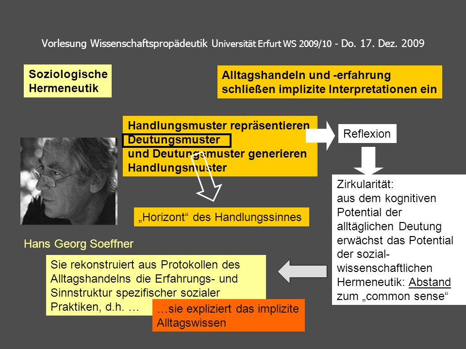 Vorlesung Wissenschaftspropädeutik U niversität Erfurt WS 2009/10 - Do. 17. Dez. 2009 Soziologische Hermeneutik Hans Georg Soeffner Handlungsmuster re