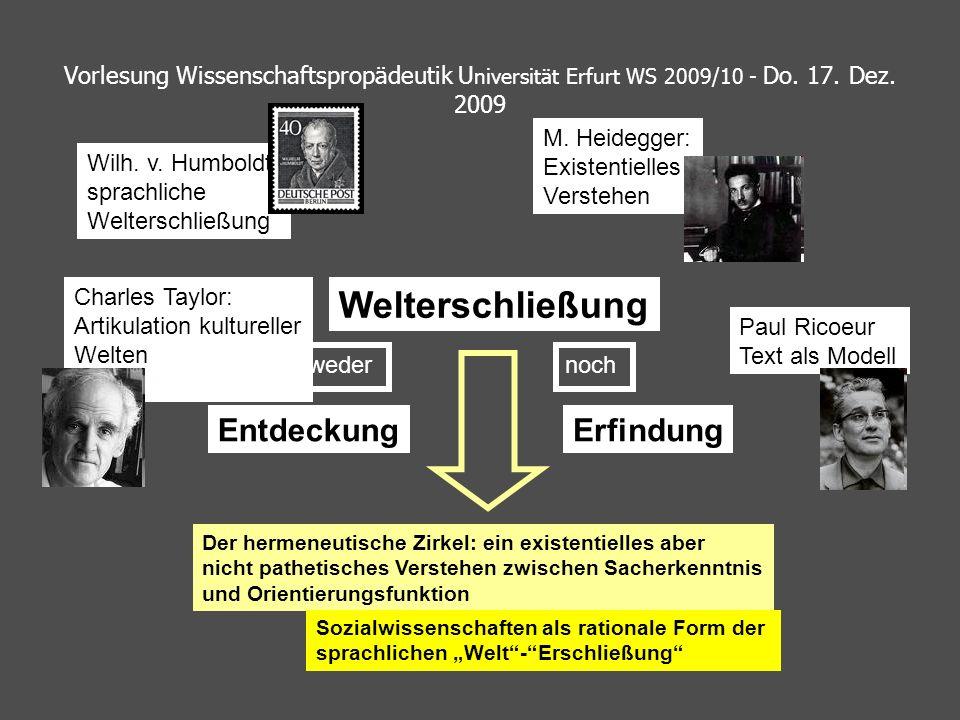 Vorlesung Wissenschaftspropädeutik U niversität Erfurt WS 2009/10 - Do. 17. Dez. 2009 Welterschließung EntdeckungErfindung Der hermeneutische Zirkel: